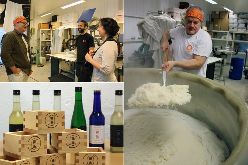 Brock Bennett brewing sake at Nøgne Ø with Lani Cantor Vatland from the Norwegian Sake Association