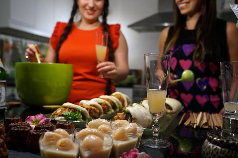 Lani Cantor Vatland and Mabel Moya, sake punch bowl recipe mixing sake cocktail lani vatland mabel moya